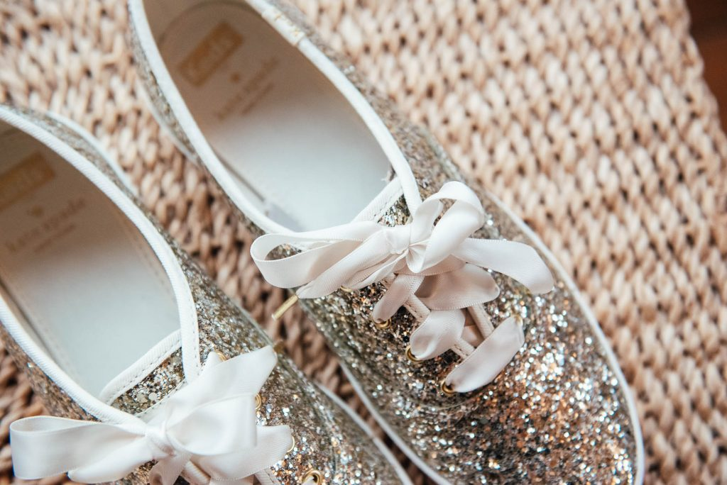 Glittery Kate Spade Wedding shoes for relaxed autumnal wedding