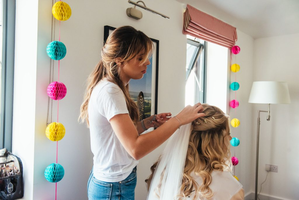 Hair and make up photography for bridal prep