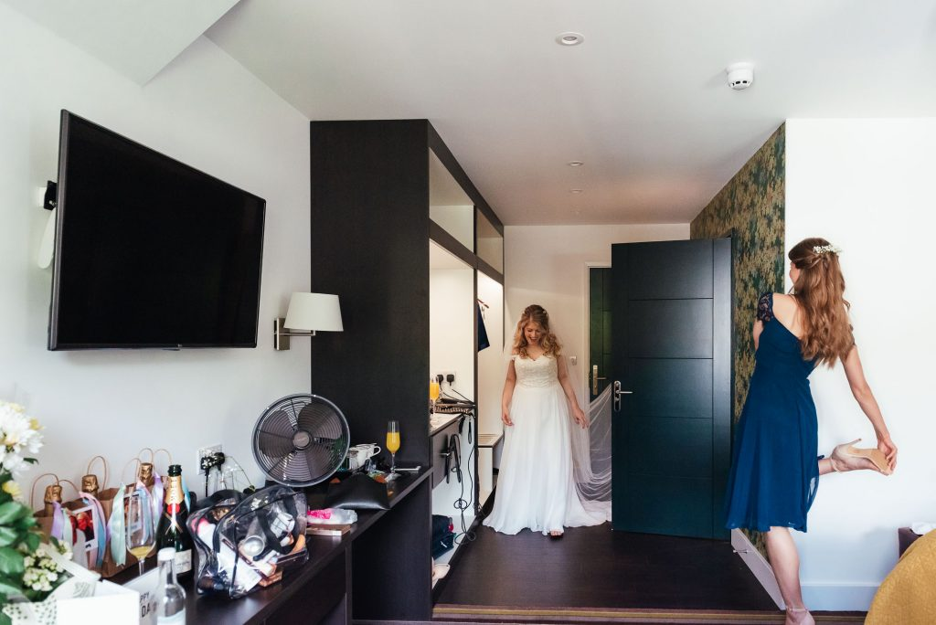 Bride arrives for her first look in wedding dress