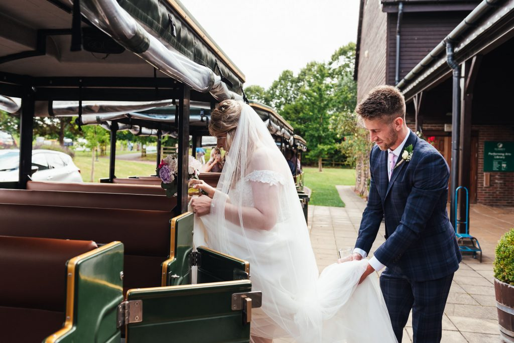 Denbies Wine wedding train for vineyard tour