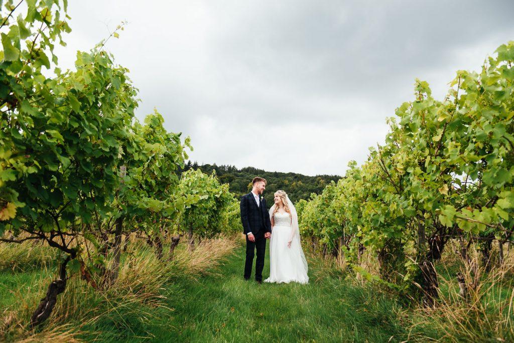 Outdoor Surrey vineyard wedding portrait