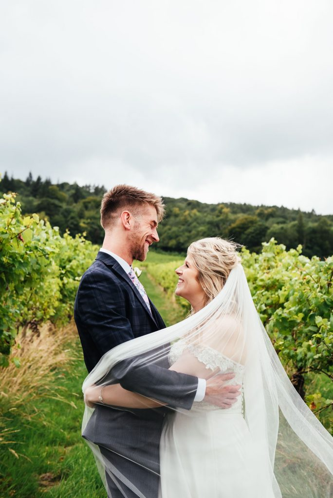 Creative veil wedding portrait