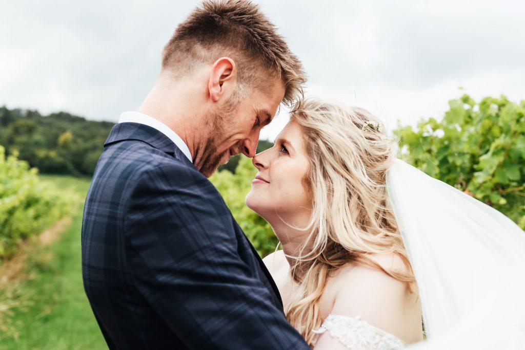 Passionate wedding portrait