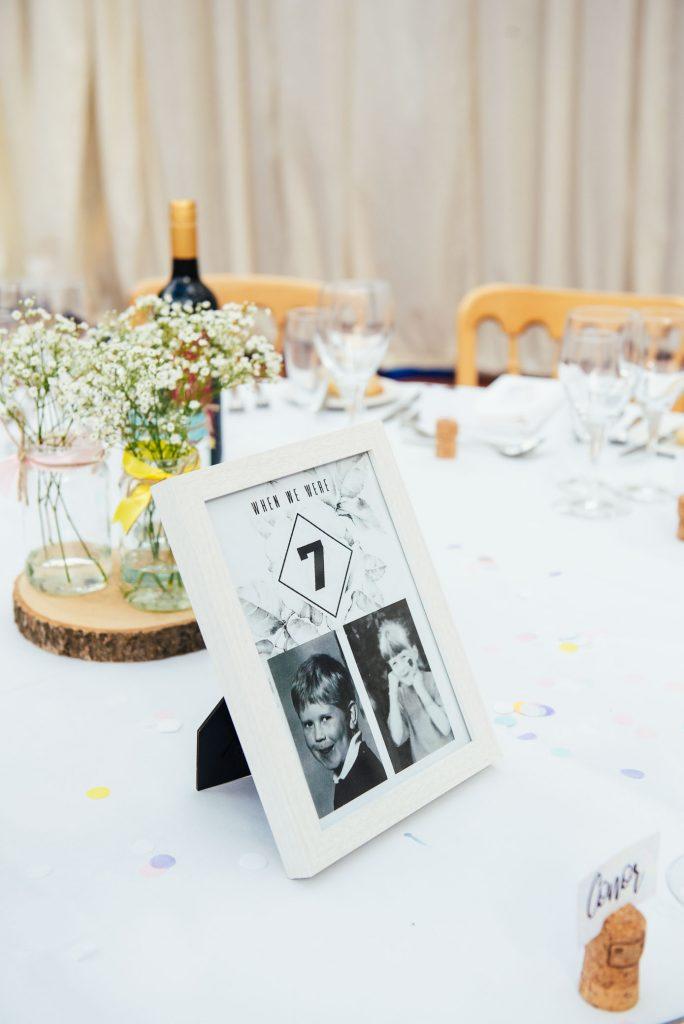 Bespoke table setting names for laid back Denbies Wine Estate wedding