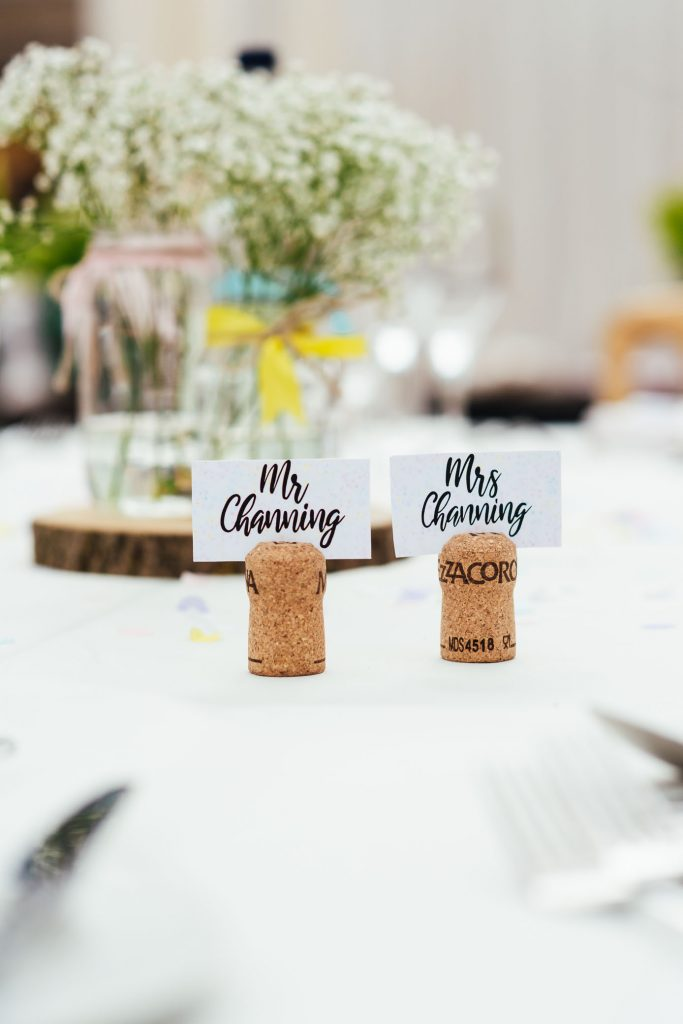 Bespoke Mr and Mrs place names with cork place setting