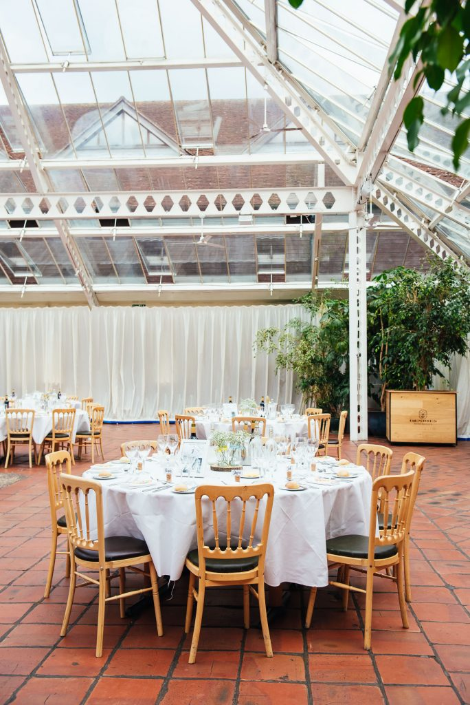 Bright and airy wedding conservatory Denbies Wine Estate