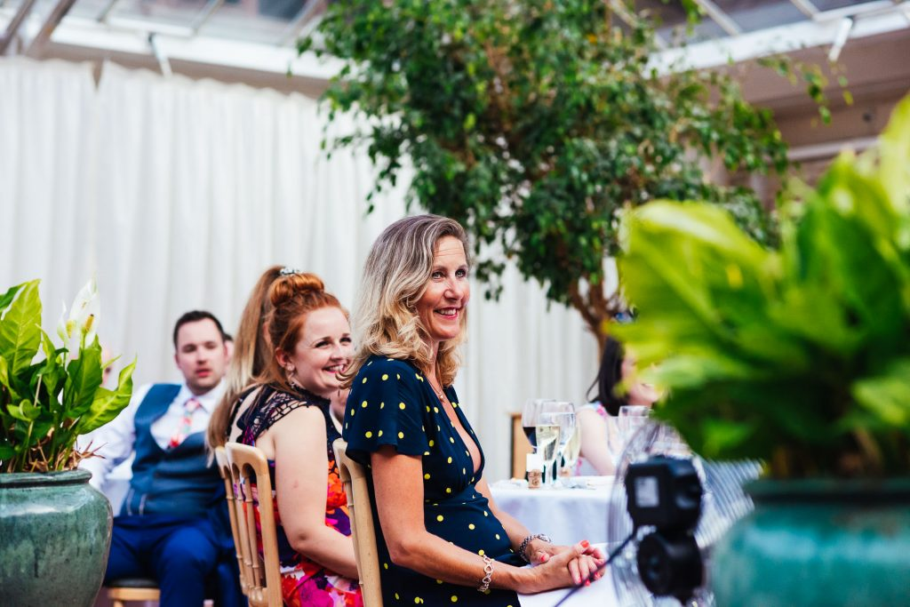 Speech reactions from guests at Denbies Wine Estate Wedding