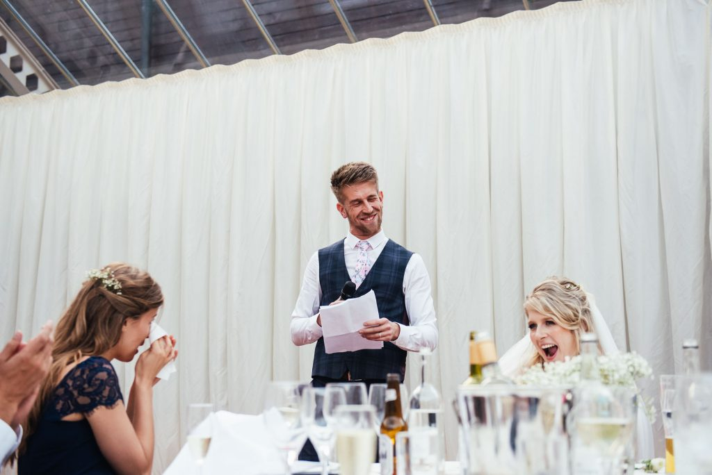 Groom giving his wedding breakfast speech
