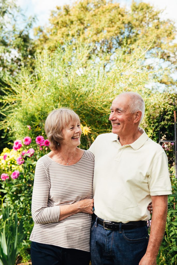 Candid portrait of the grandparents in the garden