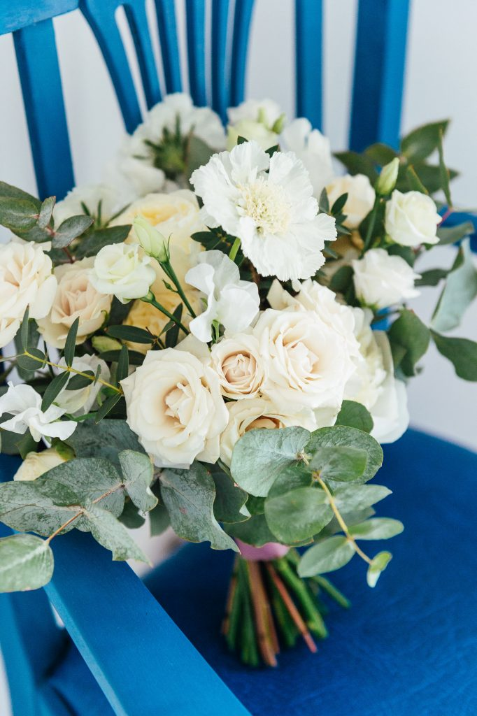 White and Green Floral Bridal Bouquet Surrey Wedding