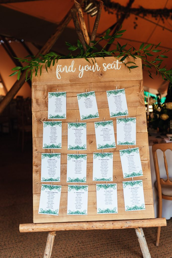 Rustic Bespoke Seating Chart, Busbridge Lakes Wedding