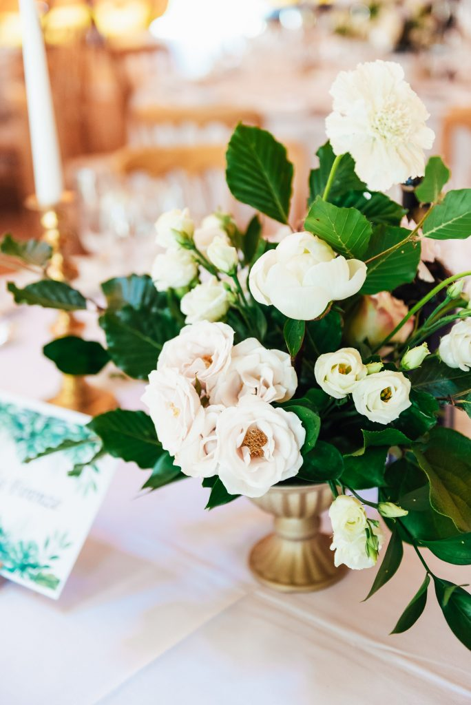 Peony Wedding table floral arrangement