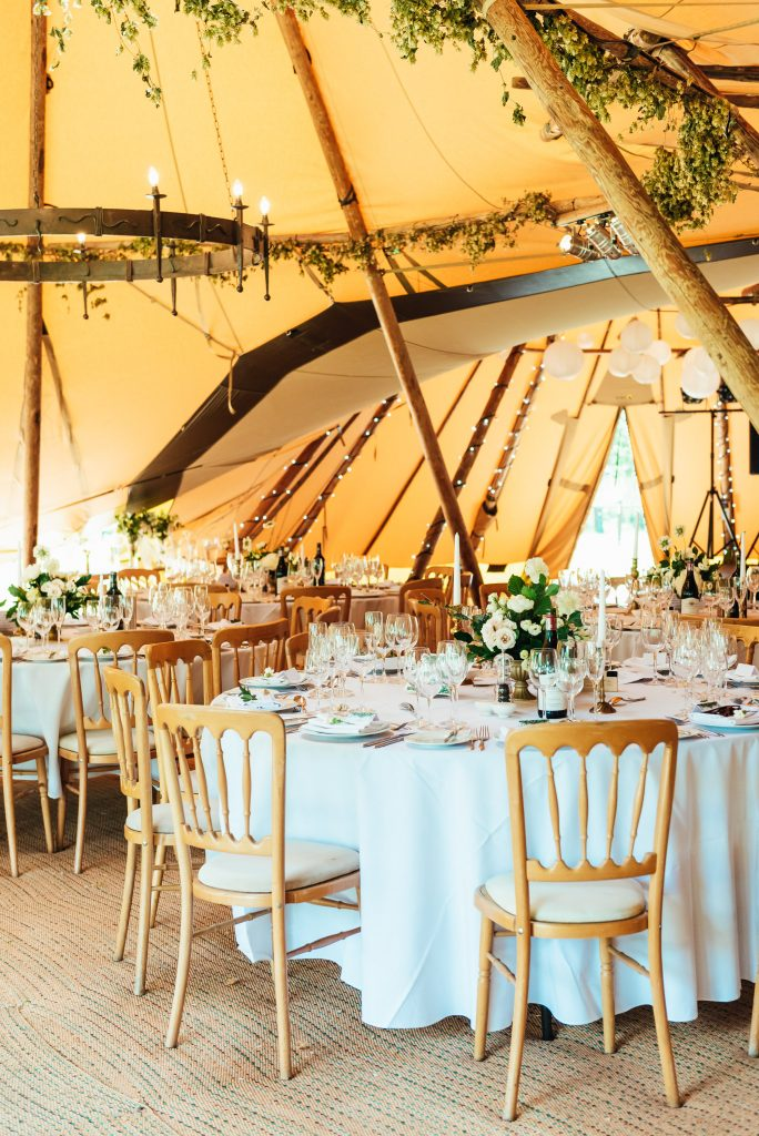Chic tipi wedding decoration, Busbridge Lakes wedding