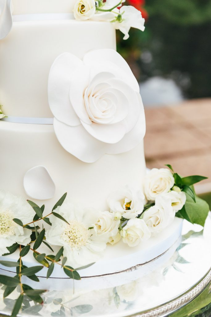 White Chocolate Flower Cake Decoration