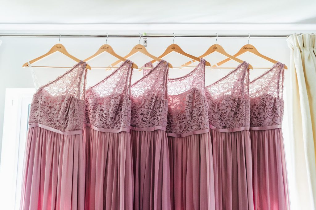 Matching Pink Bridesmaid Dresses - Surrey Wedding Photography