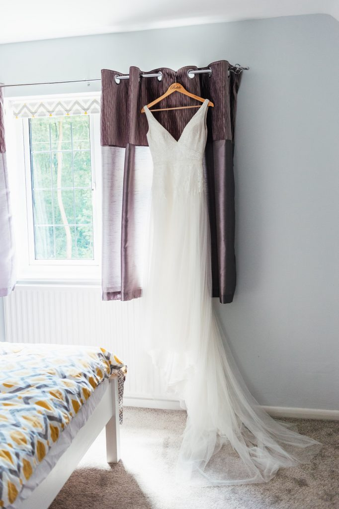Wedding dress at bridal preparation