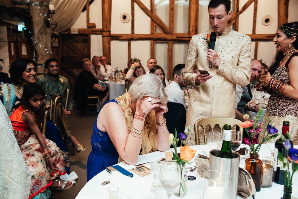 Wedding couple give a joint speech, South Farm wedding