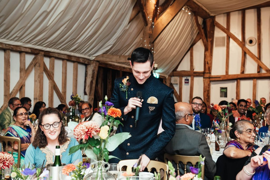Brother of the groom gives a speech