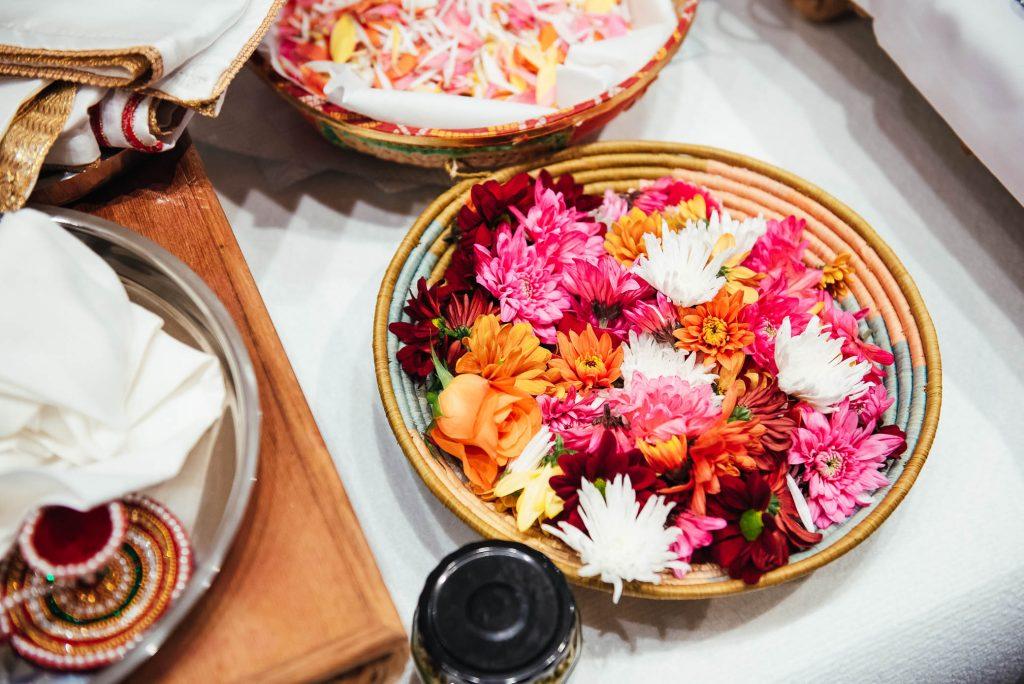 Flower petals for Indian ceremony, South Farm Wedding