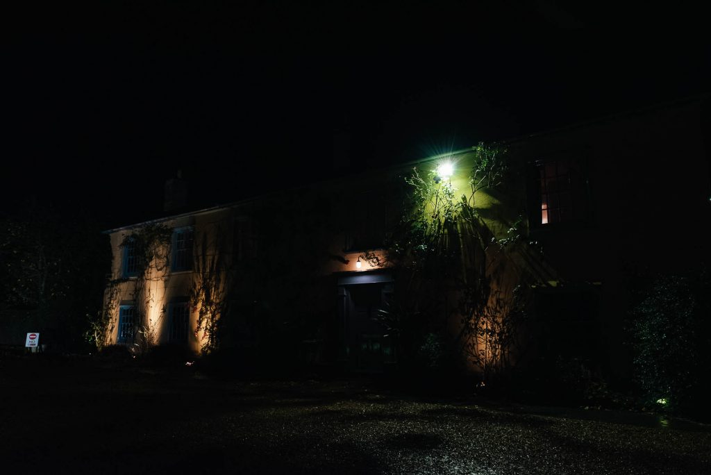 Night time exterior of South Farm wedding venue