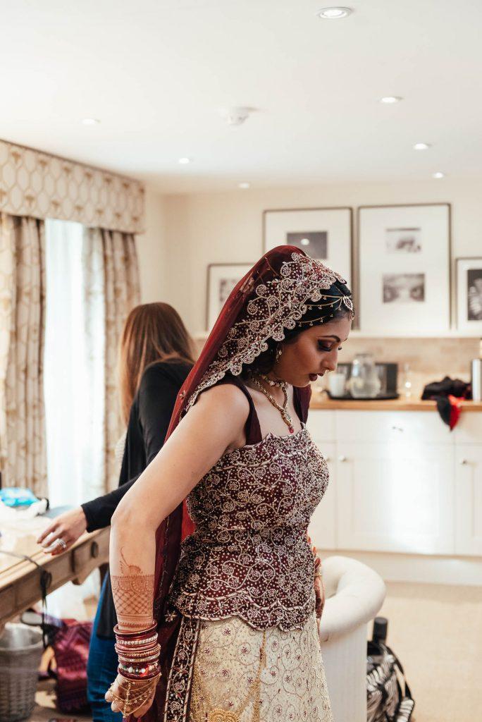 Indian bride final preparation photography, South Farm Wedding