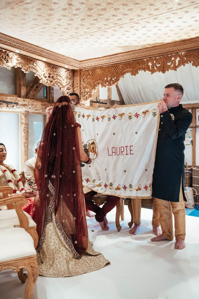 Bride enters the wedding Mandap, Hindu South Farm Wedding