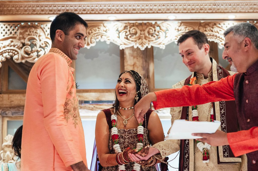 Candid moment during Hindu wedding ceremony