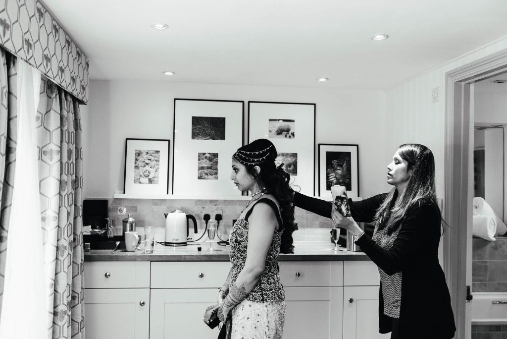 Black and white bridal preparation documentary photography