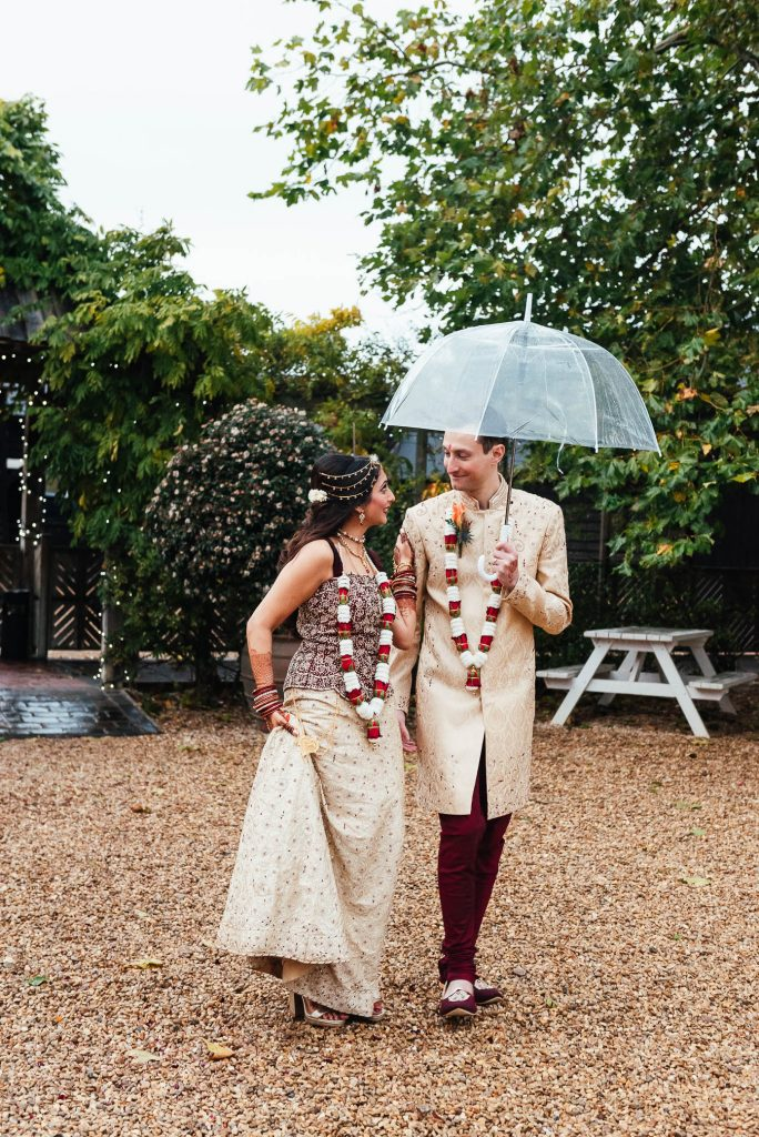 Candid, relaxed wedding portrait