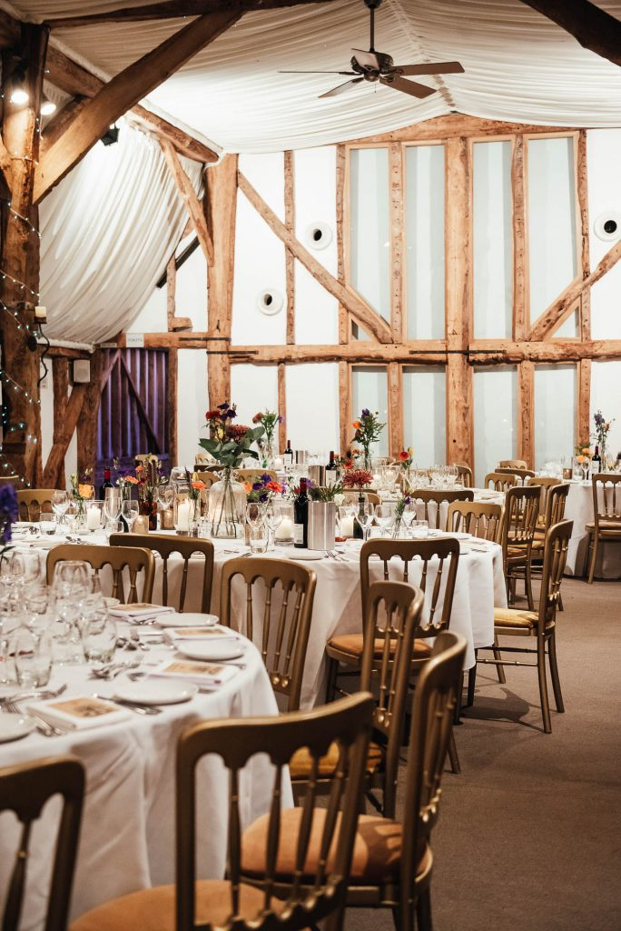 South Farm Wedding breakfast room set up