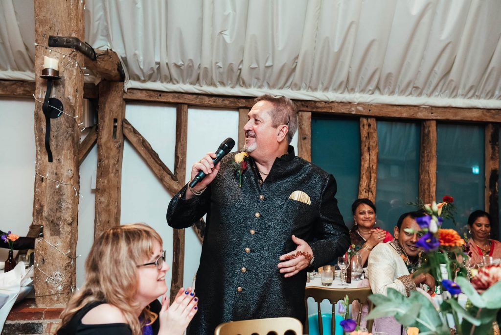 Father of the groom gives a speech, South Farm wedding