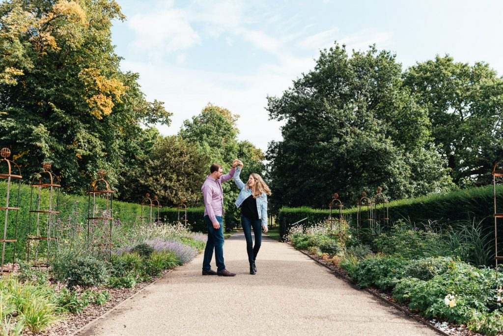 Couple Romantically Dance Together in Greenwich Park, London
