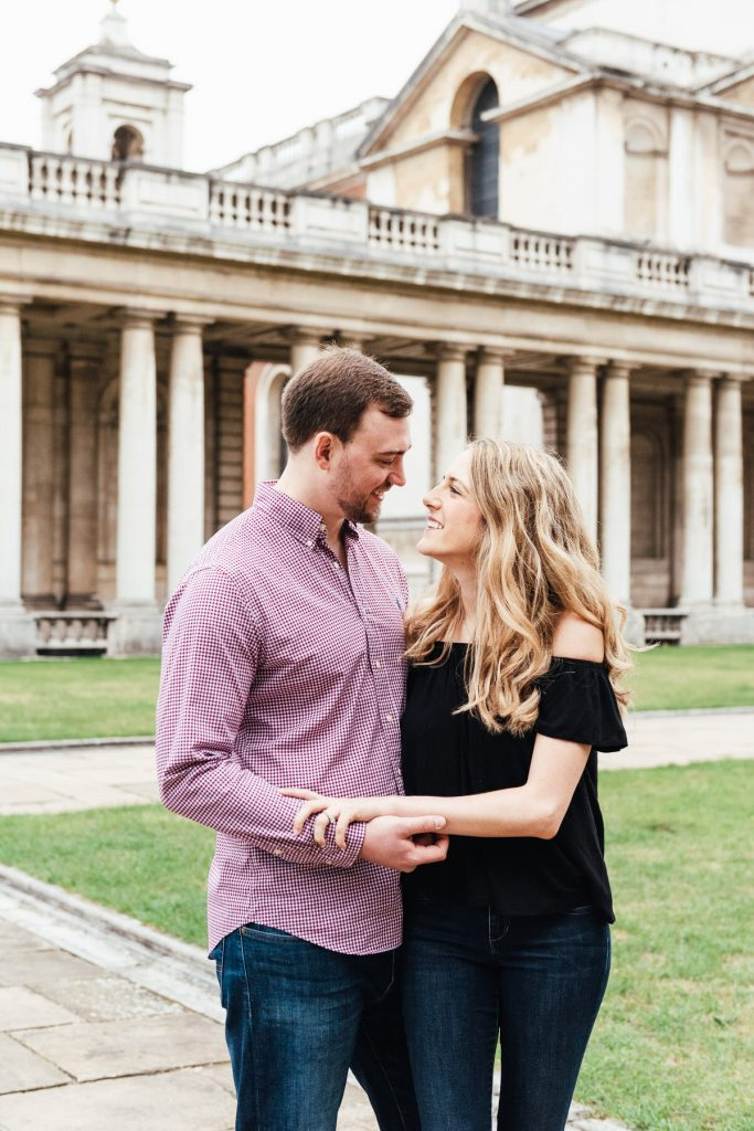 Natural couples portrait with giggling bride