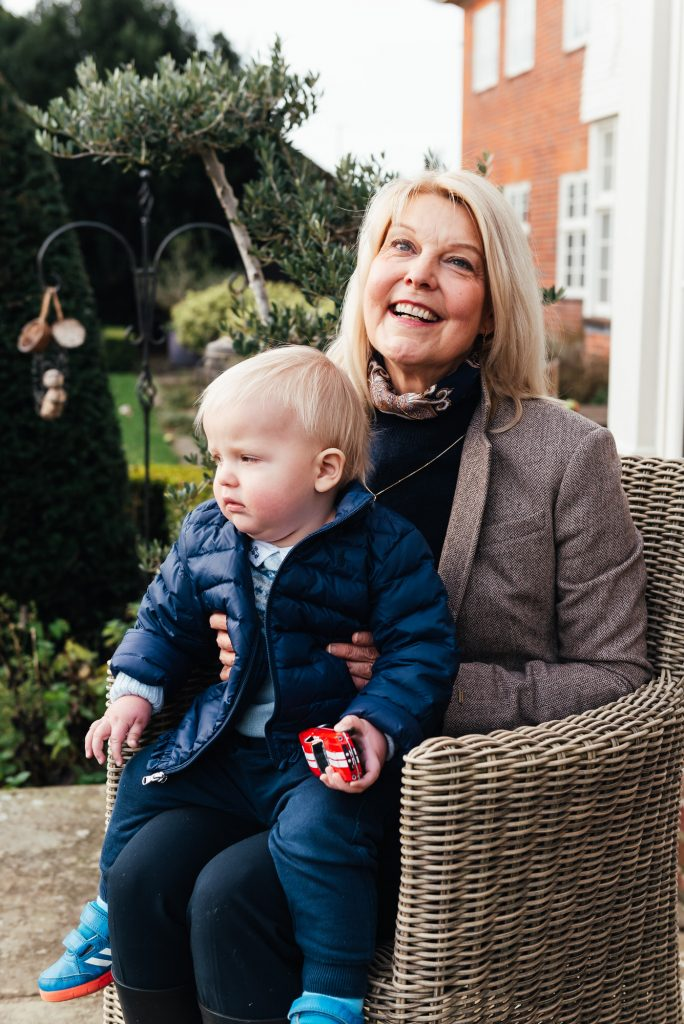 Surrey family photography, Relaxed Grandson and Grandmother portrait