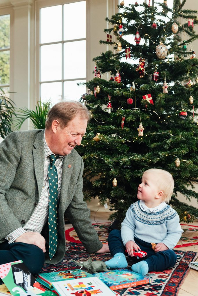 Grandfather and Grandson in front of the Christmas tree, Danish Family Photography at Home