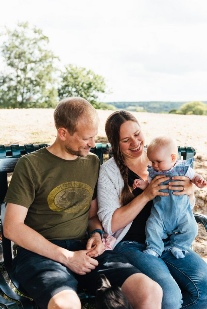 Relaxed outdoor newborn photography