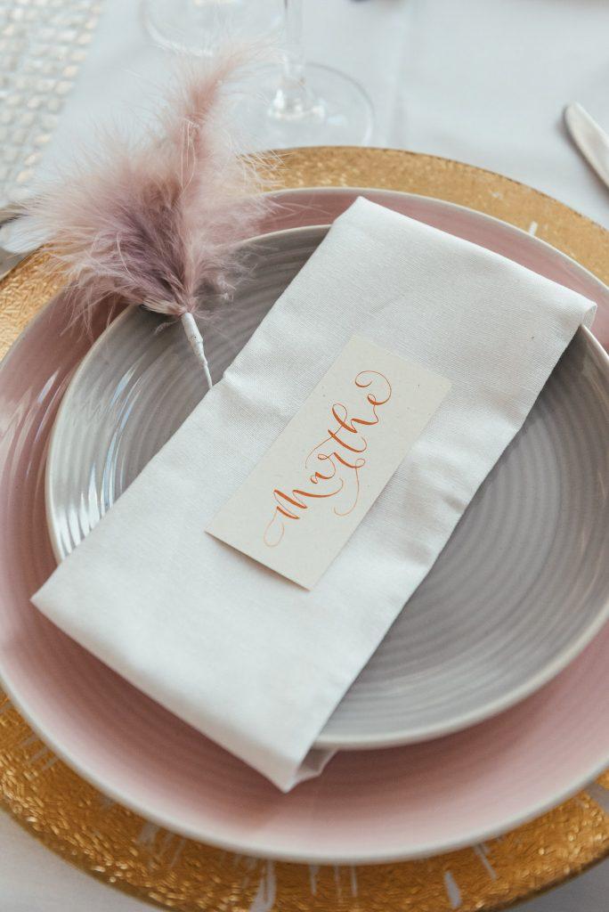 Personalised wedding place setting