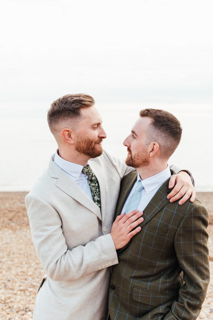 Natural and romantic beach wedding photography, LGBTQ friendly photographer