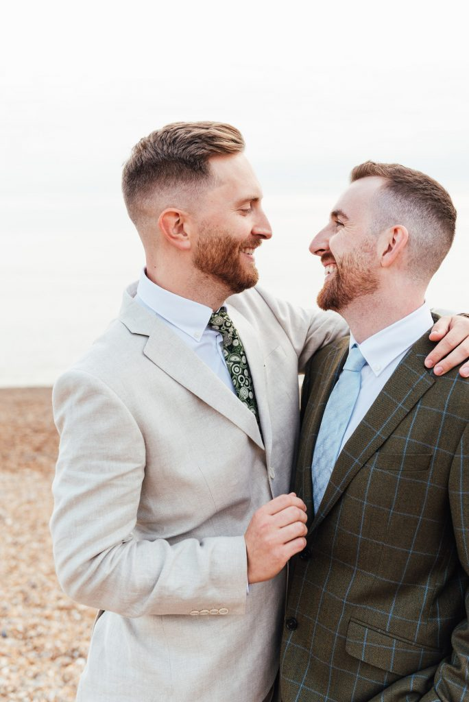 Natural and romantic beach East Sussex wedding photography
