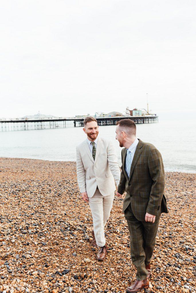 Natural Brighton beach LGBTQ wedding photography