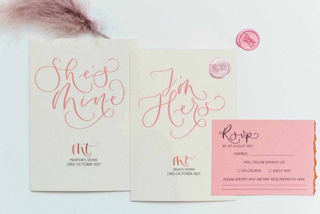 Personalised wedding stationary, LGBTQ wedding photography