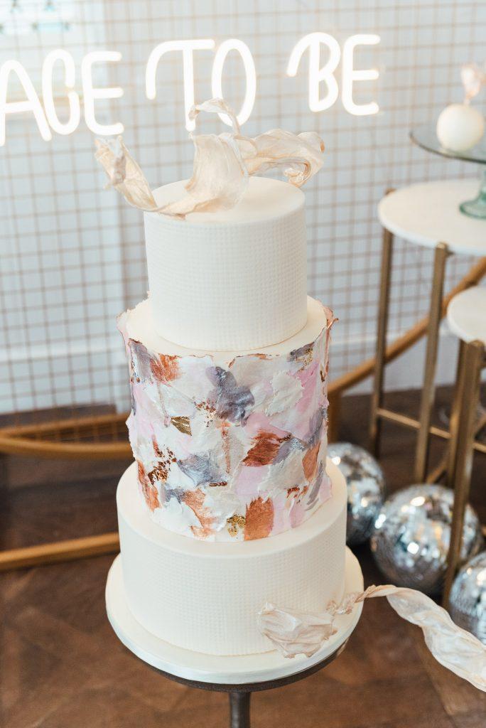 Modern and chic wedding cake, lgbtq wedding photography