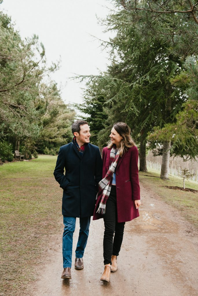 Natural couples portrait with giggling couple