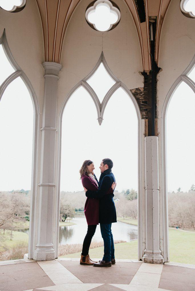 Romantic couples portrait at Painshill Park