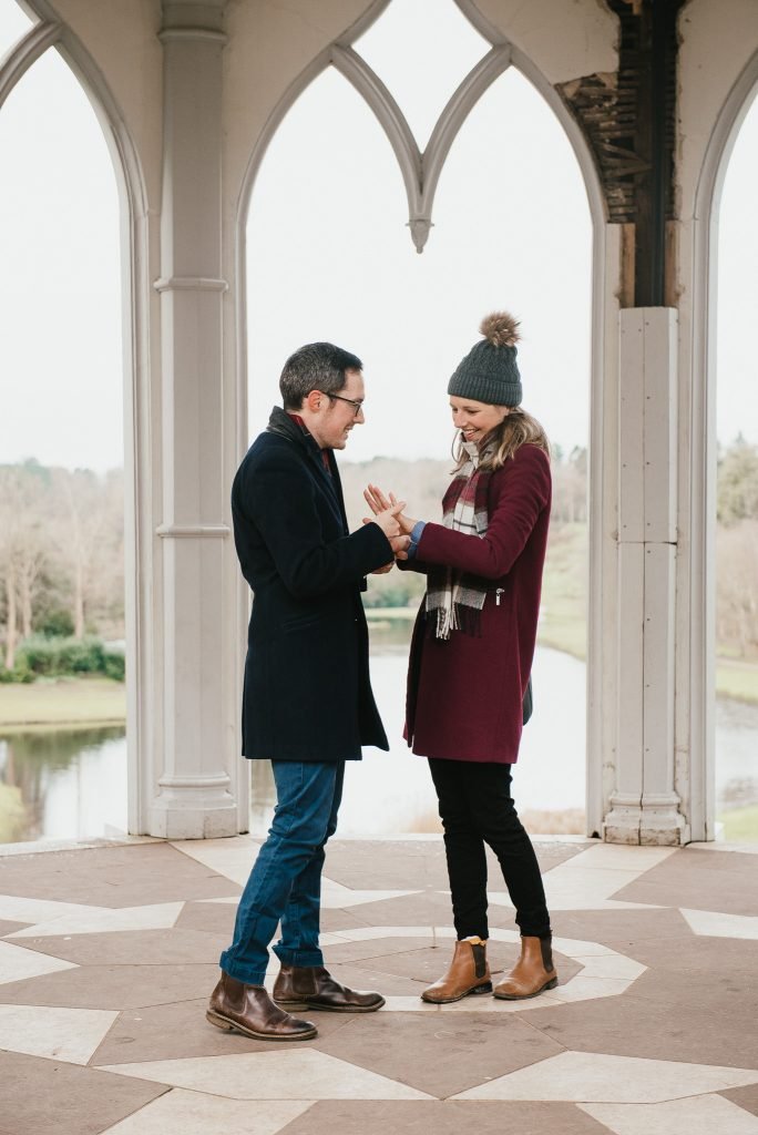 Natural couples engagement photography in The Gothic Tower at Painshill Park