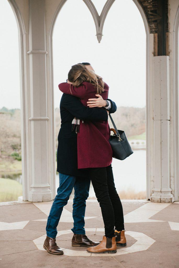 Romantic proposal photography at Painshill Park