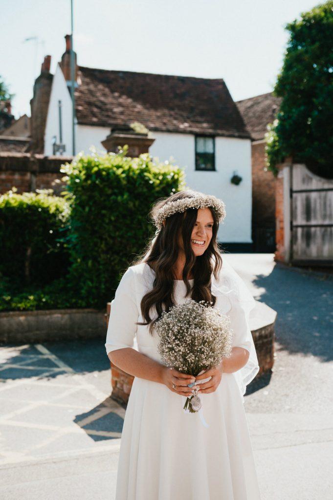 Beautiful Bride arrives at Leatherhead Registry Wedding