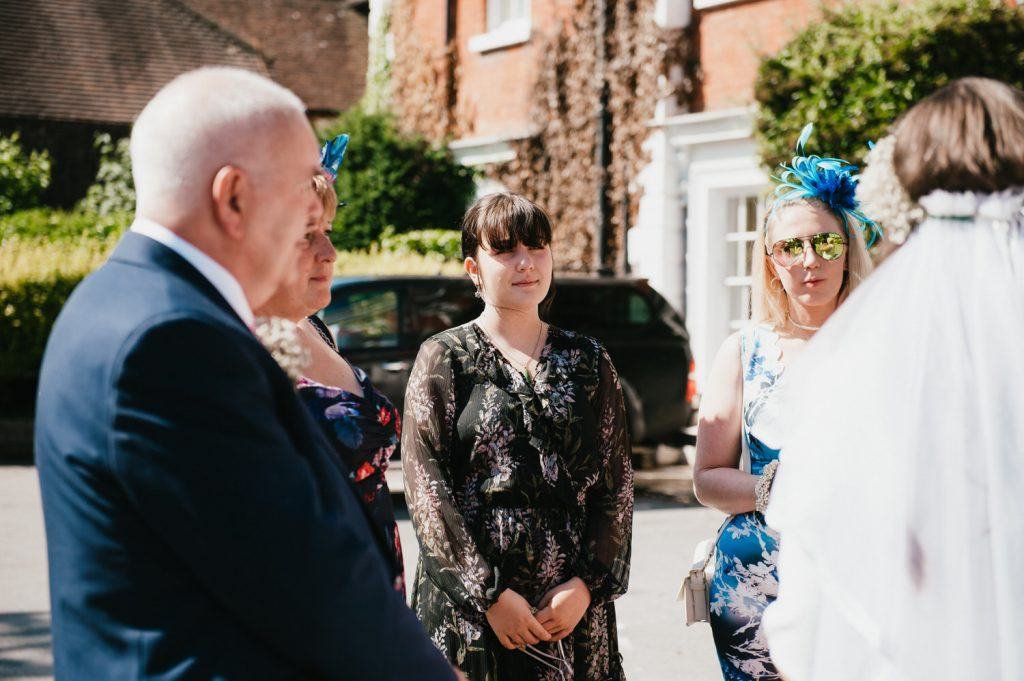 Guests mingle before micro Surrey wedding ceremony