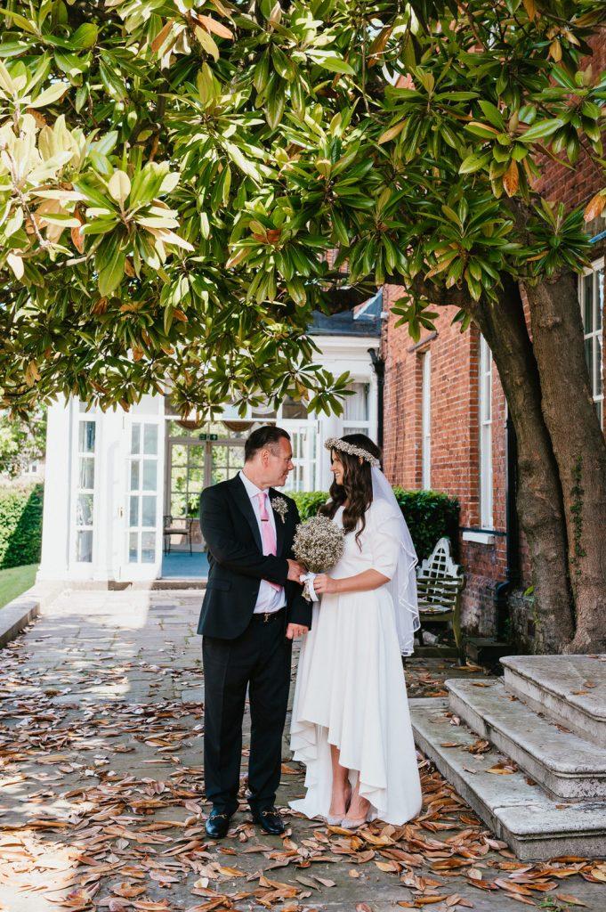 Relaxed Registry Office Wedding Portrait