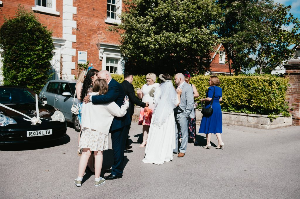 Leatherhead Registry Wedding, Guests Gather Outside